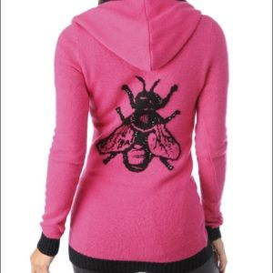 Betsey Johnson Intarsia Fly Pink Hoodie Sweater